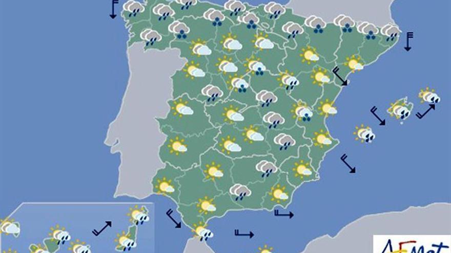 Hoy, bajada de temperaturas en Península y Baleares, y lluvias en el norte