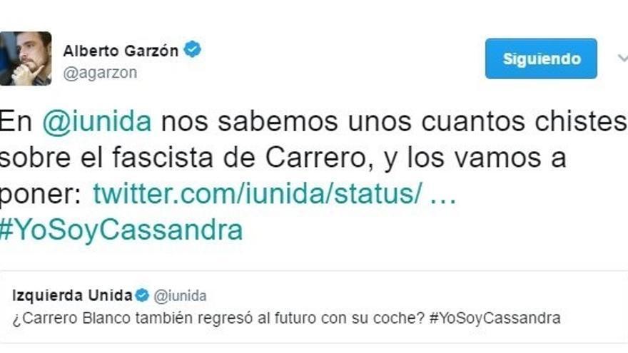 """IU llena su cuenta de Twitter de chistes sobre el """"fascista"""" Carrero Blanco en apoyo a la tuitera condenada"""
