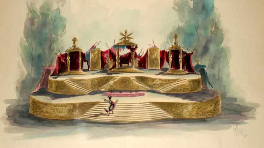 Víctor María Cortezo. Boceto para La cena del rey Baltasar, 1940