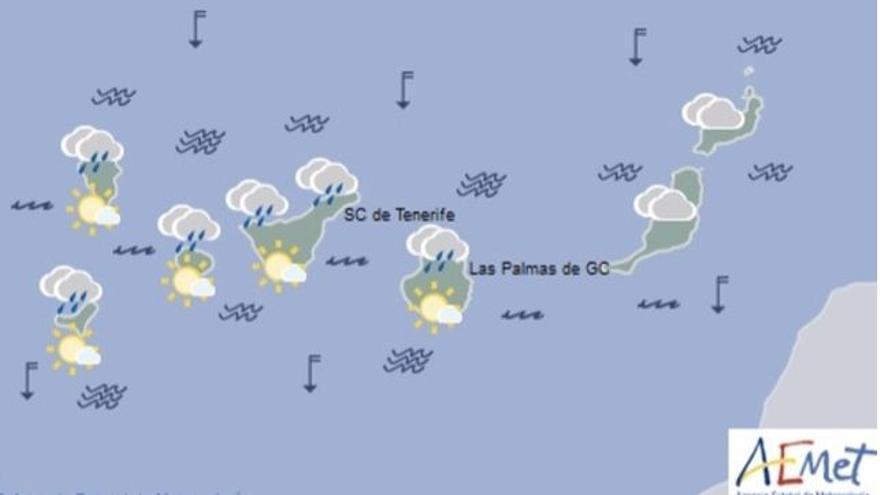 Cielos nubosos y lluvias débiles para este viernes en Canarias.