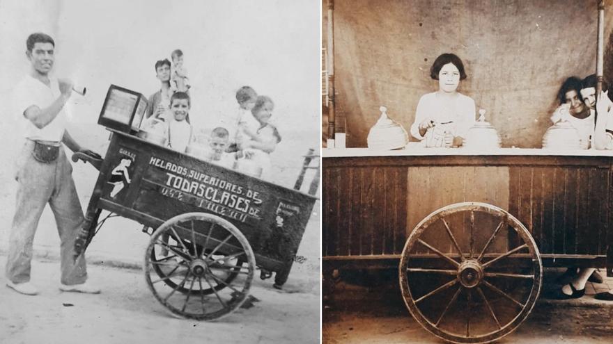 Familiares de José Guillem, fundador de Albina Heladerías, repartiendo helado