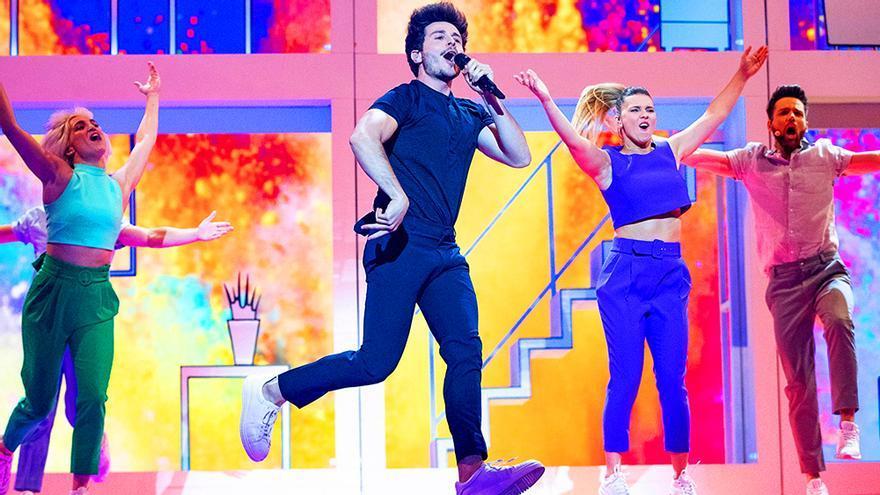 Miki en el segundo ensayo en Eurovisión