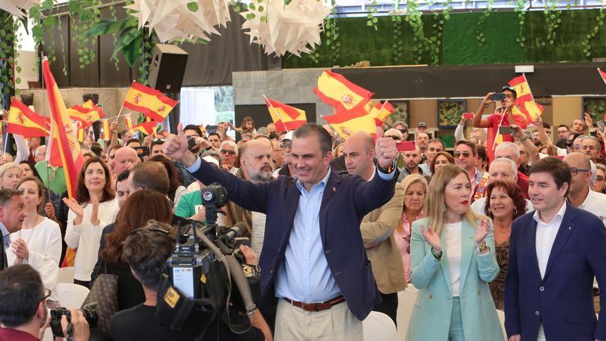 Ortega Smith, durante el acto de Vox celebrado en la sala Tao de Las Palmas de Gran Canaria que ha provocado las críticas de colectivos LGTBI