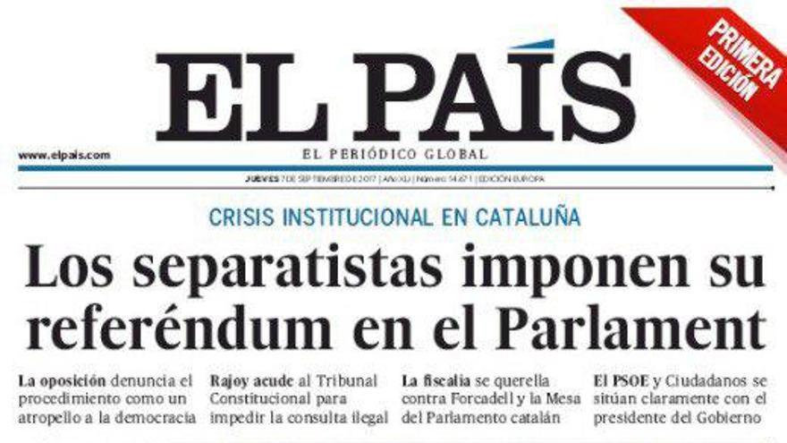 Portada de El País de este 7 de septiembre.