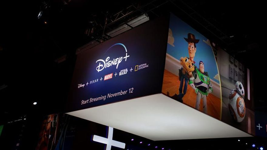 A large Disney Plus logo is displayed during D23 Expo at the Convention Center in Anaheim, California, USA, 23 August 2019.