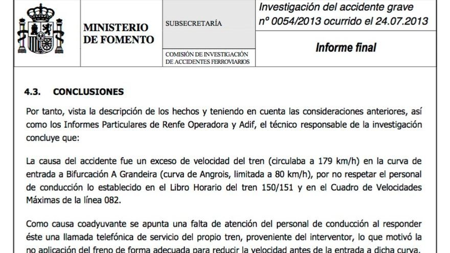 Conclusiones de la CIAF responsabilizando del accidente de Angrois al despiste del maquinista