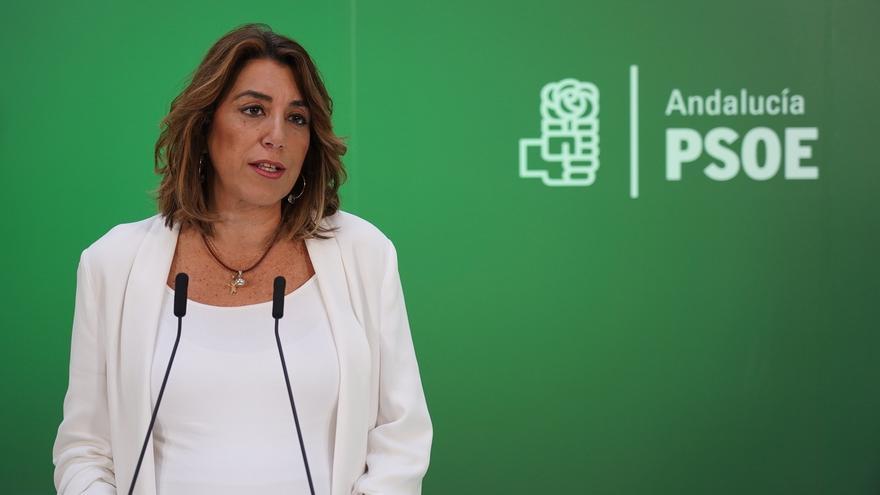 """Susana Díaz defiende la trayectoria de Delgado y acusa a Casado de """"crispar"""" la calle y """"deslegitimar"""" las instituciones"""