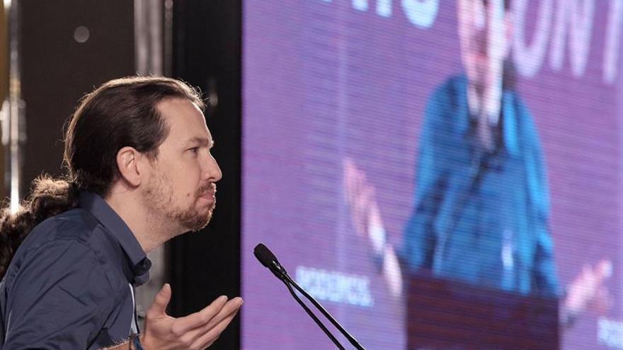El candidato de Podemos a presidente del Gobierno, Pablo Iglesias, durante el mitin ofrecido en Las Palmas de Gran Canaria