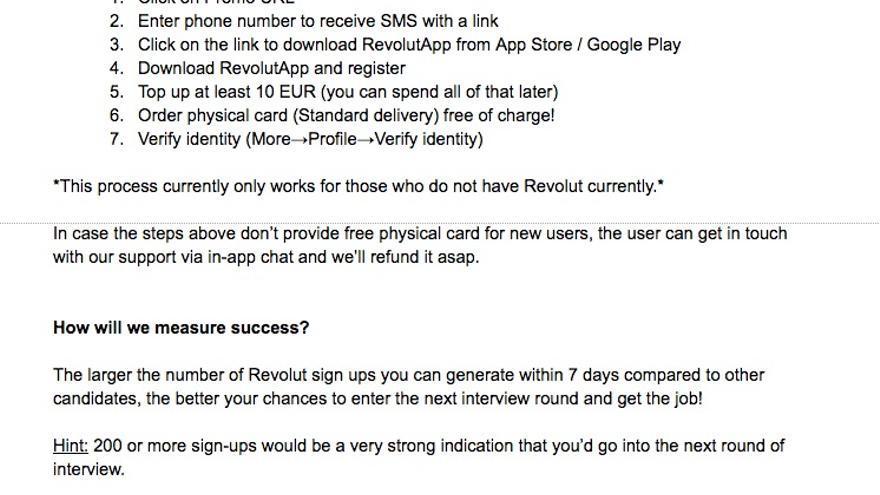Reto para conseguir un puesto de trabajo en el banco Revolut: conseguir 200 clientes sin cobrar por ello.