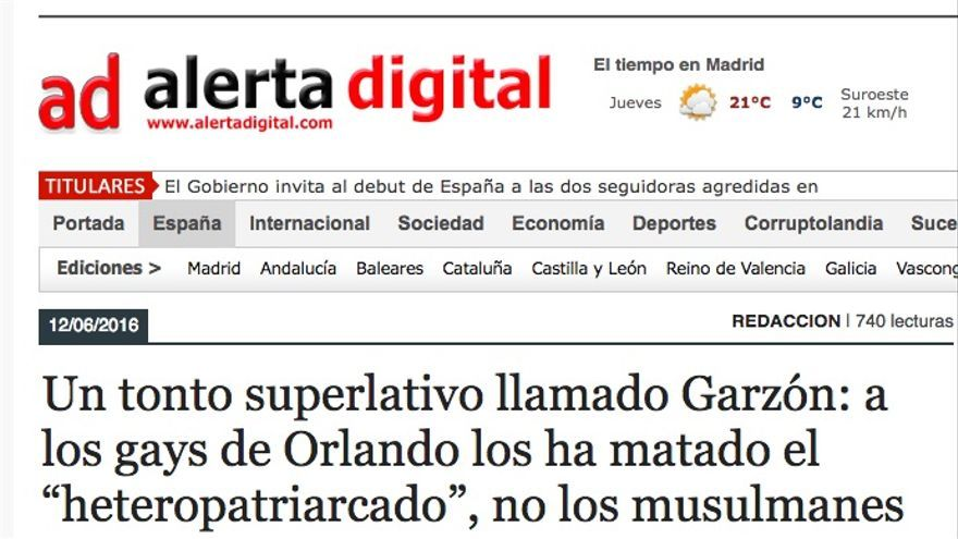 Alerta Digital llama 'tonto superlativo' a Garzón