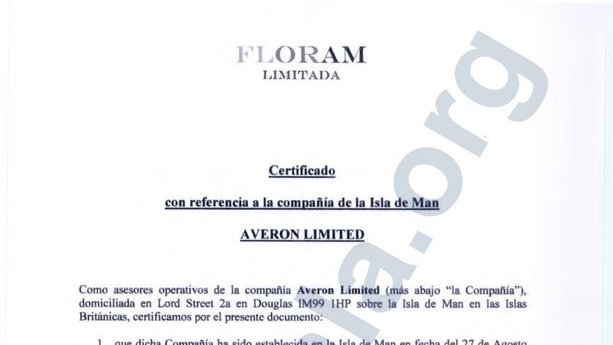 Certificado de titularidad de la sociedad Averon Limited, radicada en Isla de Man, junto con sus bienes
