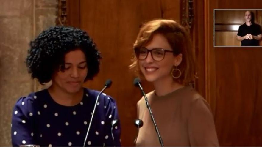 Carmen Juárez y Leticia Dolera durante el pregón