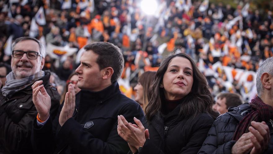 Albert Rivera e Inés Arrimadas durante la presentación de este sábado en Badalona.