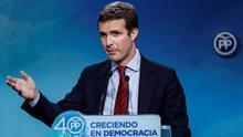 Pablo Casado en rueda de prensa el pasado mes de Enero.