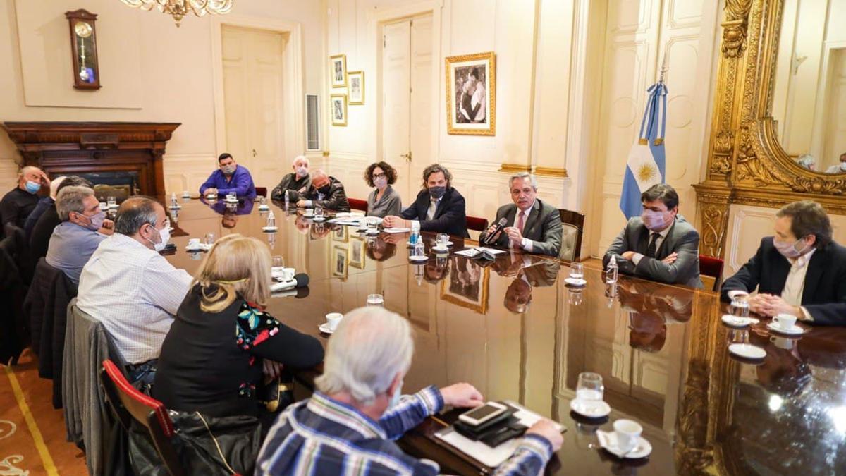 La reunión de la CGT con el presidente Alberto Fernández.