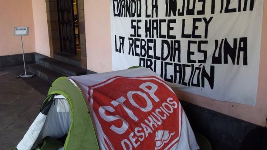 Protesta de la PAH en Tenerife, en una imagen de archivo