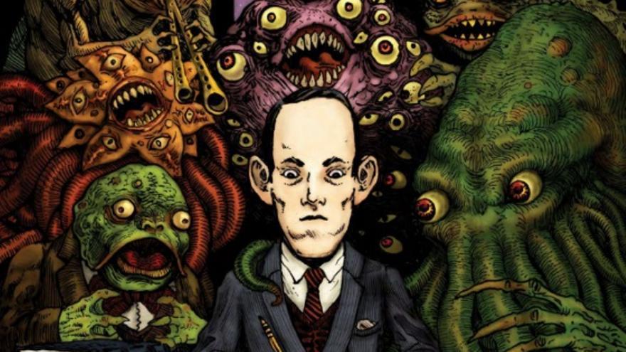 Recorte de la portada de 'H.P. Lovecraft: vida y obra ilustradas' (Diábolo Ediciones)
