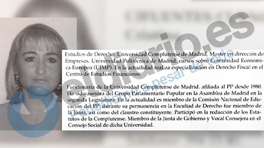 Reproducción de la ficha de diputada de Cristina Cifuentes en la III Legislatura de la Asamblea de Madrid.