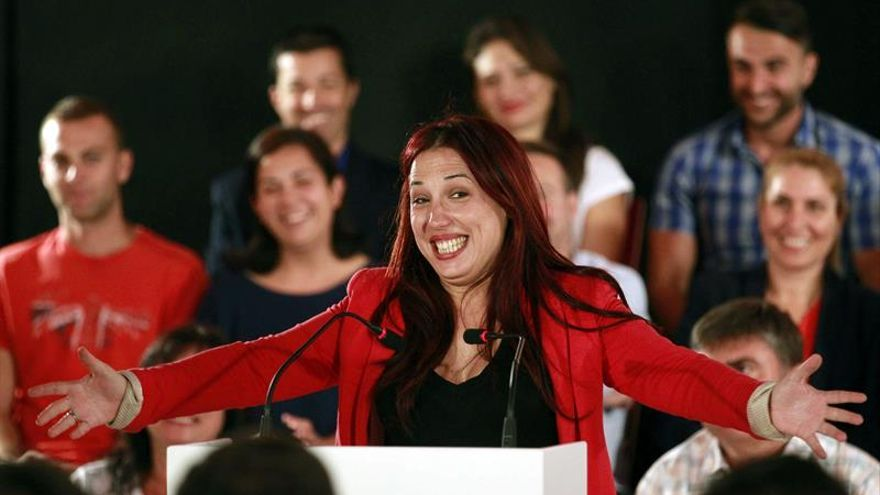 La candidata del PSOE a la Presidencia de Canarias, Patricia Hernández, en el acto celebrado en Arona./ EFE