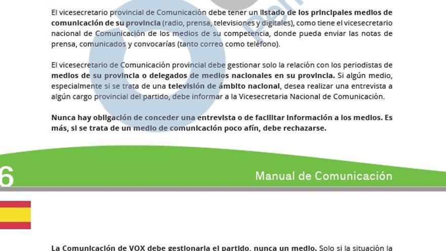 Una de las páginas del manual de comunicación de Vox