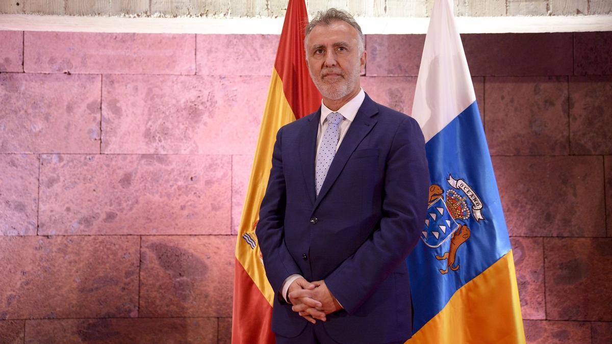El presidente de Canarias, Ángel Víctor Torres, en la rueda de prensa de este viernes