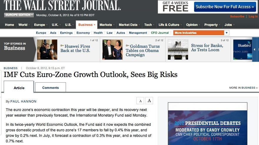 Análisis de The Wall Street Journal sobre las previsiones del FMI.