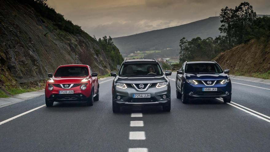 Los SUV de Nissan, Juke, X-Trail y Qashqai, de izquierda a derecha.