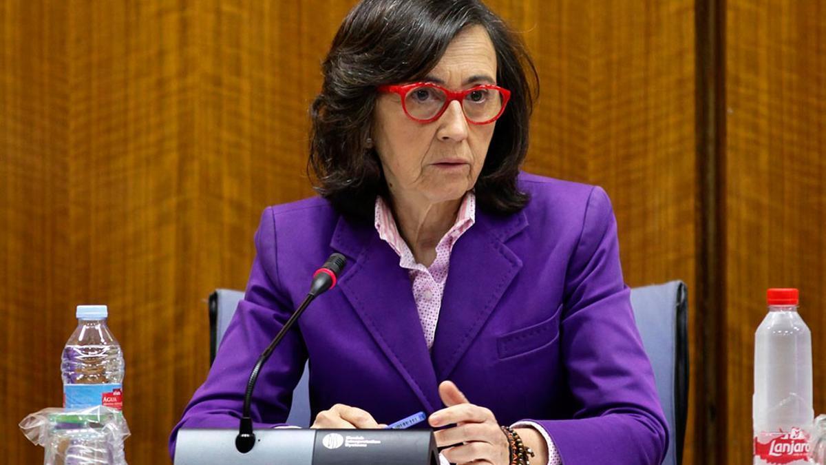 Rosa Aguilar, en el Parlamento andaluz.
