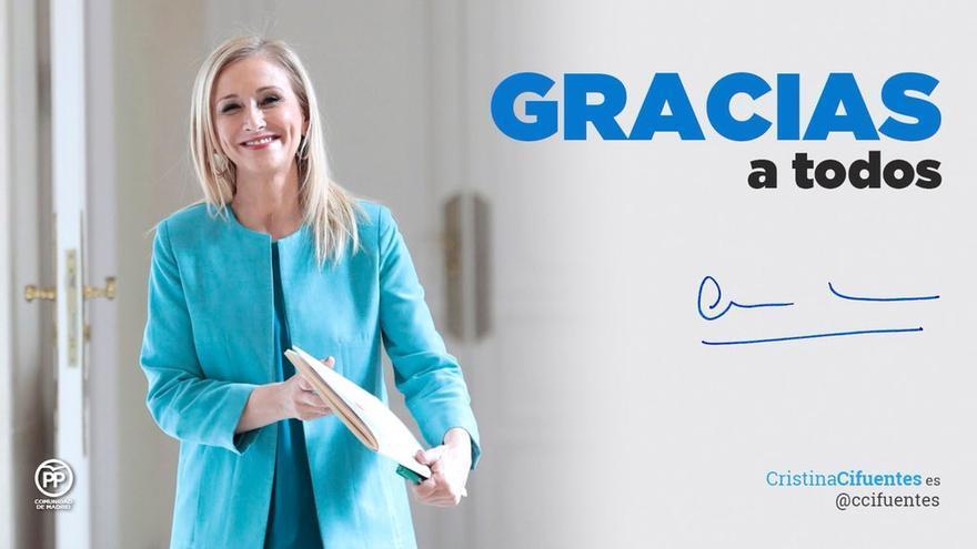 Imagen de agradecimiento de la expresidenta madrileña