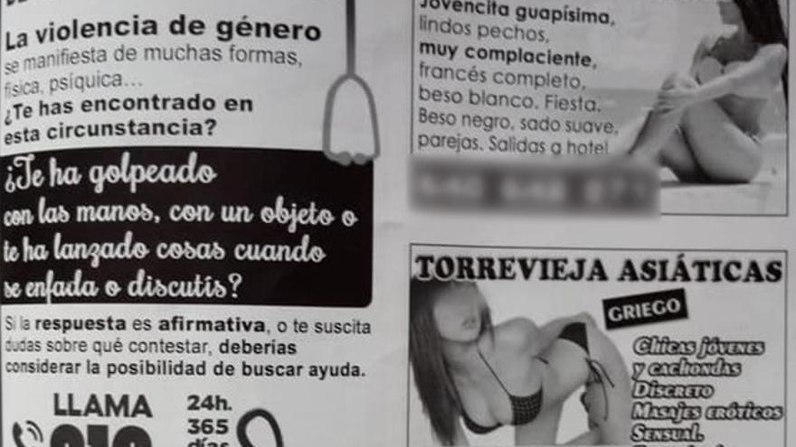 El anuncio del 016 junto a los de prostitutas en la guía de Torrevieja