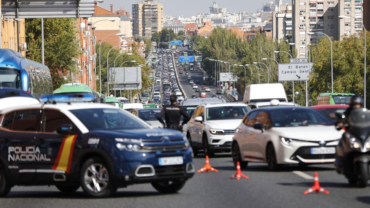 La autovía estatal A-5 Madrid-Extremadura, a la salida de la capital de España en vísperas del pasado puente 12 de Octubre