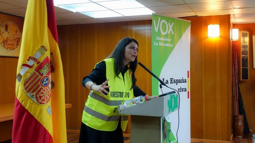 Macarena Olona durante un acto de campaña de Vox