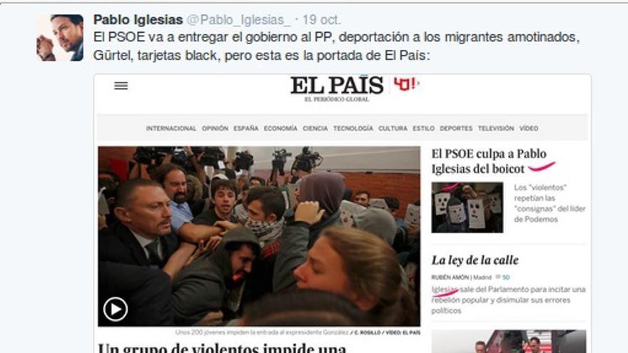 Tuit de Nacho Torreblanca, jefe de Opinión de El País, a Pablo Iglesias