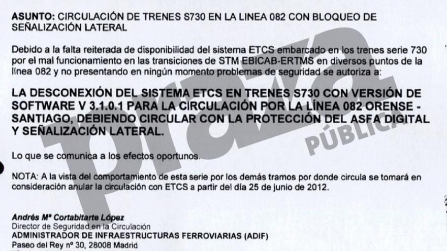 Autorización para desconectar el ERTMS en los Alvia, firmada por Cortabitarte