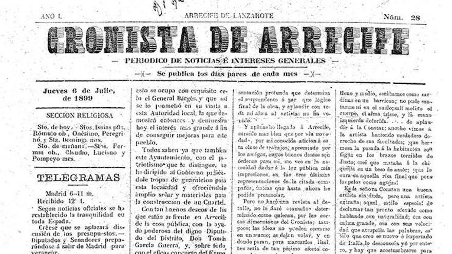 Página del extinto diario Cronista de Arrecife.
