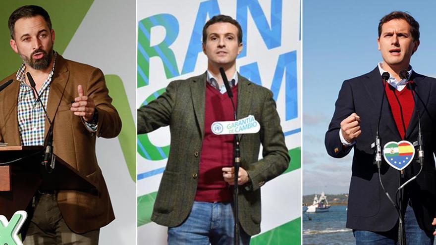 Santiago Abascal, Pablo Casado y Albert Rivera.