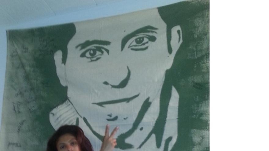 Ensaf Haidat,  pide la libertad de su marido, Raif Badawi, bloguero saudí encarcelado por sus ideas.