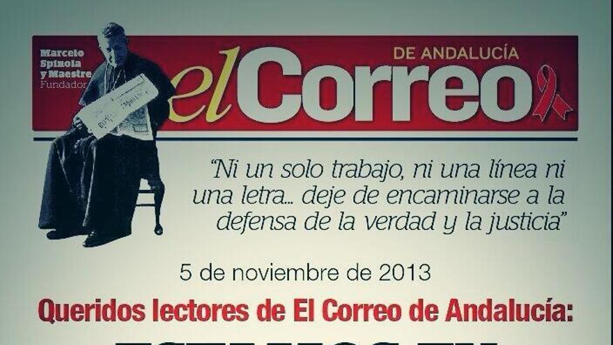 Portada de El Correo de Andalucía del 5 de noviembre de 2014 con motivo de la primera jornada de huelga de la plantilla.