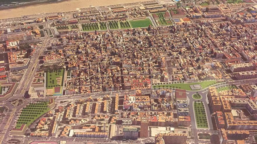 Así quedará la llegada de la avenida Blasco Ibáñez al Cabanyal, con la nueva rotonda y la estación integrada con un jardín