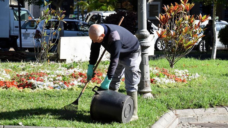 Operario en tareas de limpieza en una zona ajardinada de la ciudad