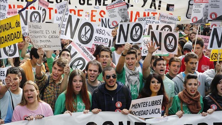 Los estudiantes recorren Madrid con gritos a favor de una huelga general