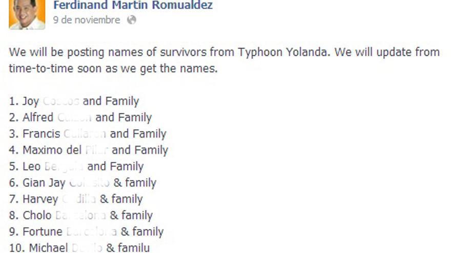 Captura de pantalla de los comentarios en público de un congresista filipino