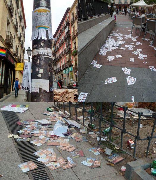 No sólo la basura, los flyers y carteles también contribuyen a ensuciar Chueca y Salesas | Fotografías: E. Bellod