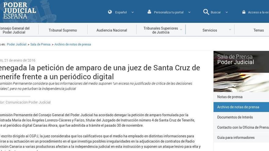 Publicación del CGPJ en su página web.