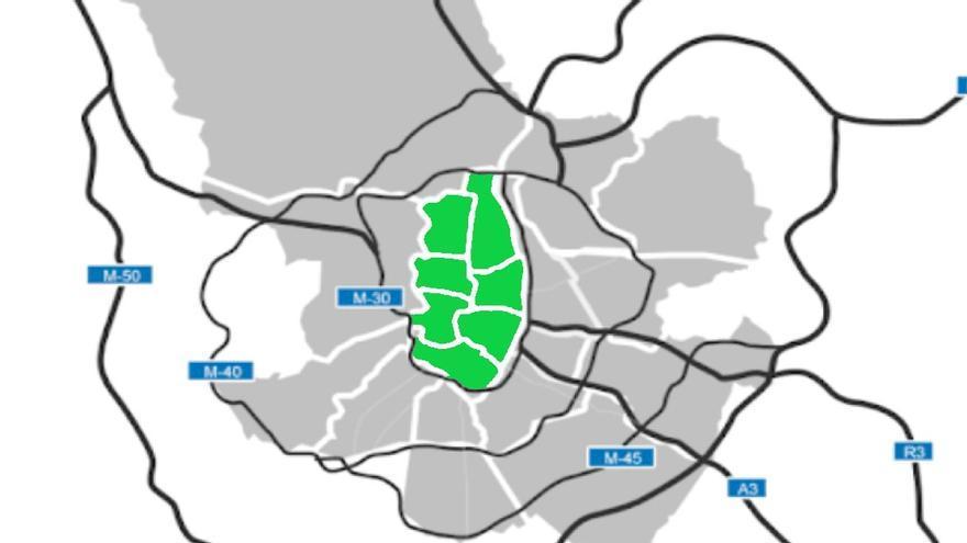Zona de bajas emisiones propuesta por Más Madrid, que corresponde a los distritos del interior de la M-30 | SOMOS CHAMBERÍ