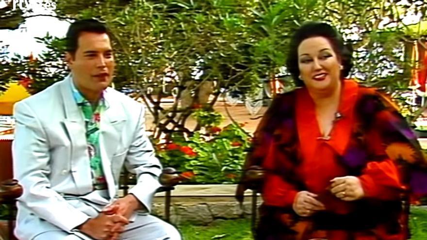 Freddie Mercury y Montserrat Caballé, durante su entrevista en Informe Semanal
