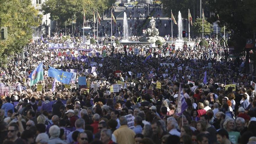 Parte de la manifestación del 7N que ha recorrido este sábado las calles de Madrid. / Efe