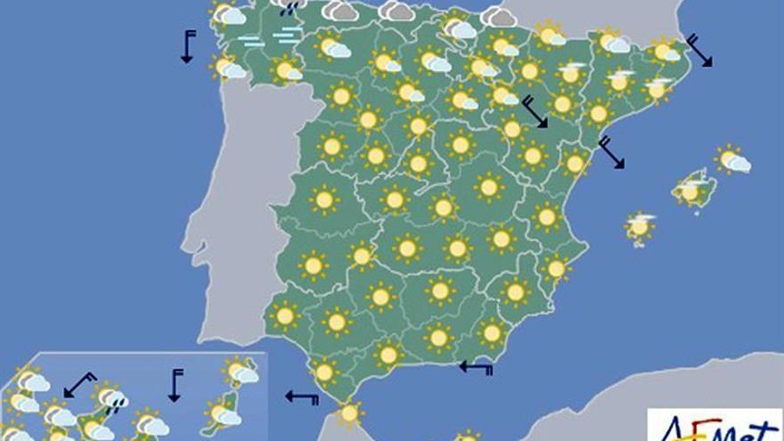 Cielos despejados y subida de temperaturas para hoy en casi todo el país