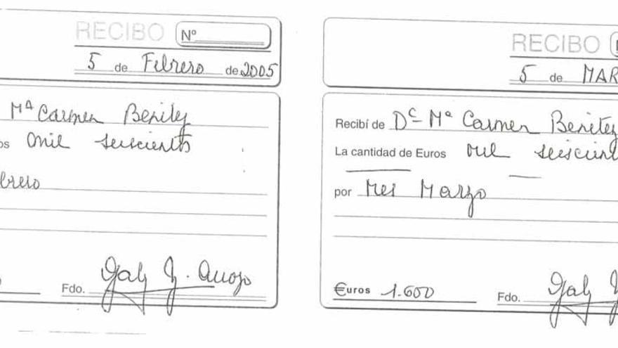 Recibos con los que José Manuel Soria justificó que pagaba el alquiler del chalet a Javier Esquivel.