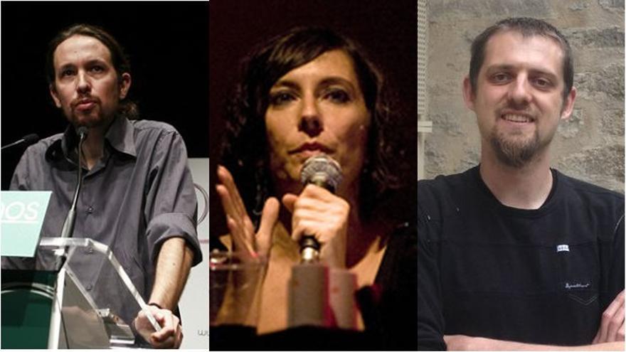 Pablo Iglesias (Podemos), Simona Levi (Partido X) y Florent Marcellesi (Equo)